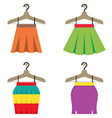 Colorful Women Skirts With Hangers vector image