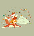 cute forest foxes with autumn leaves vector image vector image