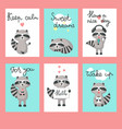 cute raccoon cards template set vector image