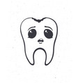 cute unhealthy human tooth with sad eyes vector image