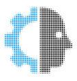 cyborg head halftone icon vector image