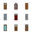 Door icons set flat style vector image vector image