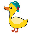 duck with hat on white background vector image