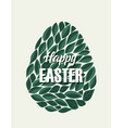 easter eggs with leaves vector image