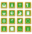 easter items icons set green vector image vector image
