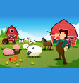 farmer and tractor in a farm with farm animals vector image