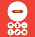 flat icon meal set of beef smoked sausage vector image vector image