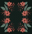 floral bloom rectangle design scarf repetiotion vector image vector image