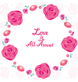 Floral Border With Love Is All Around Lettering vector image vector image