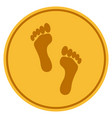 footprints gold coin vector image vector image
