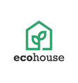 green eco house symbol web icon logo template vector image