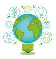 green globe light bulb design vector image vector image