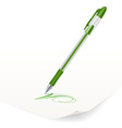 image of green ballpoint pen writing on paper vector image vector image