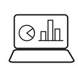 laptop with chart icon vector image vector image