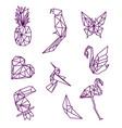 line origami animals vector image vector image