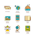 minimal lineart flat travel icon set vector image vector image