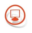 Monitor sign sticker orange vector image vector image