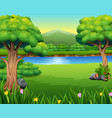 nature lanscape with a beautiful park and mountain vector image vector image
