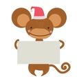New Year Christmas cartoon monkey Santa hat vector image