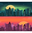 Night and evening city landscape Skyline with vector image vector image
