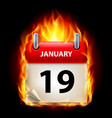 nineteenth january in calendar burning icon on vector image vector image
