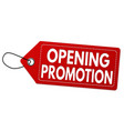opening promotion label or price tag vector image vector image