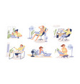 people working in heat using air conditioner vector image