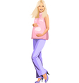 Pregnant blonde girl in pink vector image