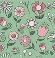 simple seamless pattern of hand drawn flowers vector image
