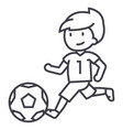 soccerboy playing football line icon sign vector image vector image