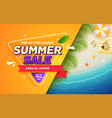 summer sale banner with beach view background vector image