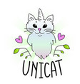 unicorn cat cartoon vector image