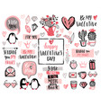 valentines day lettering design set with hand vector image