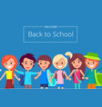 welcome back to school banner with kids vector image vector image