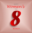 womens day poster in red design vector image vector image
