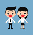 young business man and women in cute cartoon style vector image