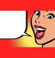 close-up pop art woman face smile vector image