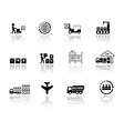 set logistic icons with mirror reflection vector image