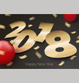 3d realistic gold foil paper number 2018 vector image vector image