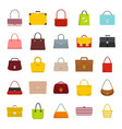 bags set flat icons vector image