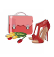 Beautiful Red shinning Shoes and bag Accessory vector image vector image