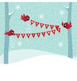Birds Cardinal hold a Christmas garland vector image vector image