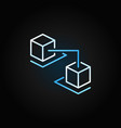 blockchain cubes creative line icon on dark vector image vector image