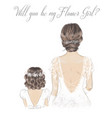 bride and flower girl hand drawn vector image