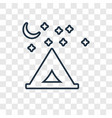 camping concept linear icon isolated on vector image