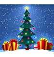 christmas background with decorated tree and gift vector image vector image