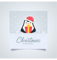 christmas penguin gift greeting card vector image