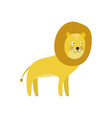 cute cartoon smiling yellow lion character vector image vector image