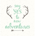 Drawn calligraphic quote poster antlers adventure vector image