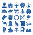 egypt silhouette icons set in flat style vector image